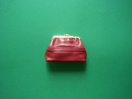 Bordeaux red leather  gold frame coin case