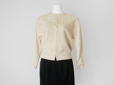 Nude cream wool  Champagne Sequin  Knit top