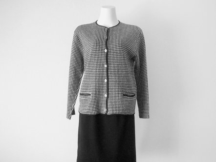 Black & White Plaid  high gauge cotton cardigan
