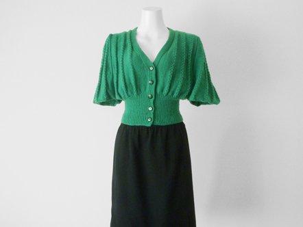 Vivid Green  Butterfly Sleeve  Mini Knit Cardigan