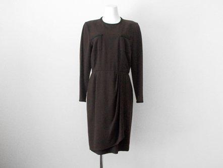 Dark Brown Wool  Black Hem Ribbon  Suit Dress