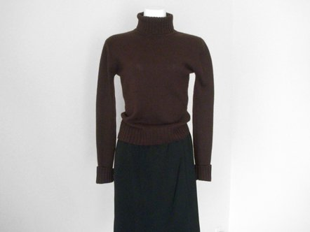 Chocolate Brown Cashmere  high neck knit