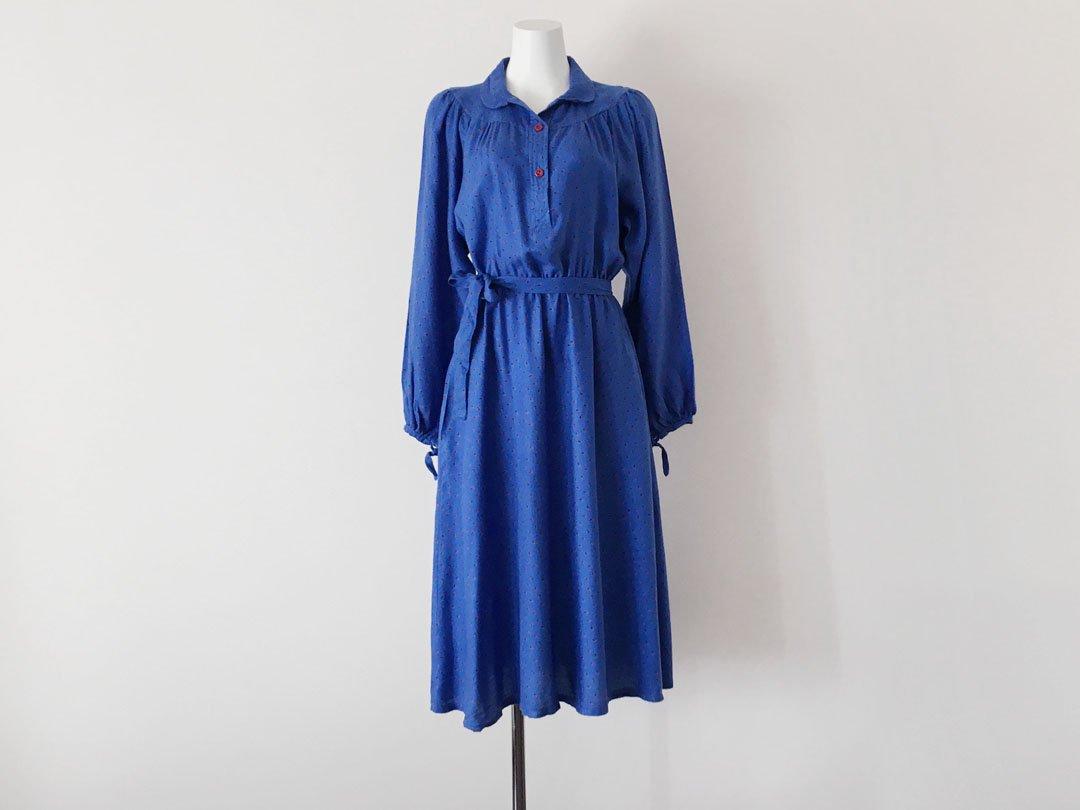 8fa9c98905da0 Cobalt Blue Raspberry red print dress - trip vintage