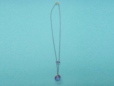 パープル クリスタルガラス  ネックレス
