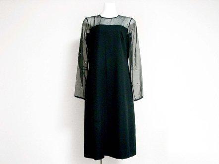 ブラック シアー トップ  ラインストーン ドレス
