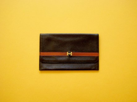 Hermes  Black・Brown leather  logo card case