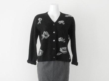 Black wool  gray Rose  V neck cardigan