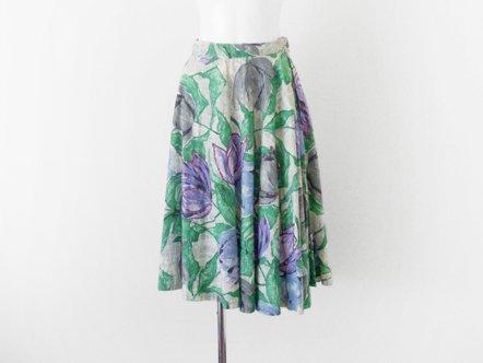 Purple・Blue・Gray  tulip Cotton  flared skirt