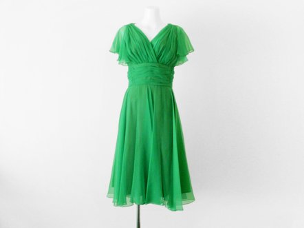ヴィヴィッドグリーン  シフォン フレア  バタフライ ドレス
