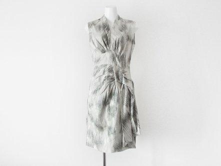 White gray  silk shantung  waist Big bow dress