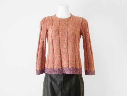Coral pink・lavender  mix knit  Girls top