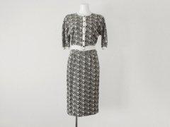 Black・White  Floral Print  knit set up・skirt