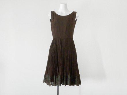 Chocolate brown  silk chiffon  evening dress