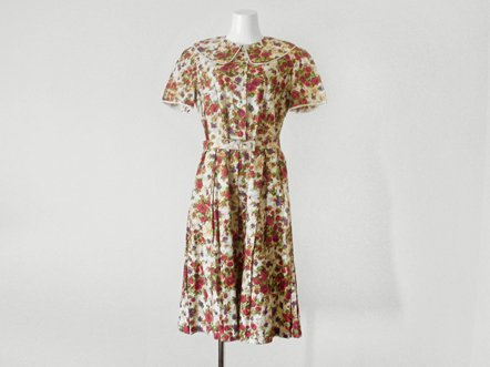 Rose print cotton  Peter Pan collar  day dress
