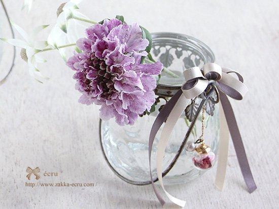 (飾り付き)デイビス・ヨークベース : 持ち手付 ガラス花器 アンティーク