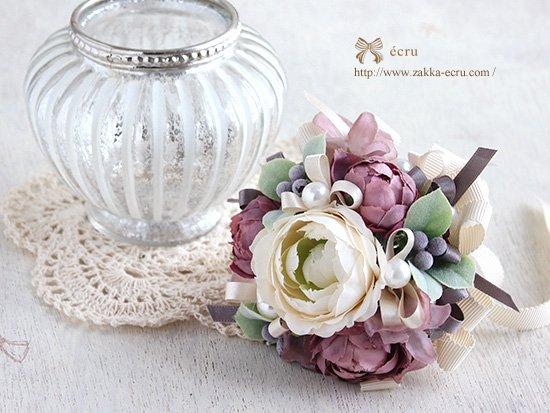 (お花と花器のセット)アンティークな雰囲気のアートフラワーブーケ+アンティークなガラスベース付