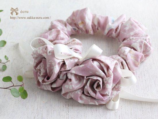 巻きバラ お花付き シュシュ:リバティ ヨシエ yoshie ピンク、ガーデン Gaeden 紺