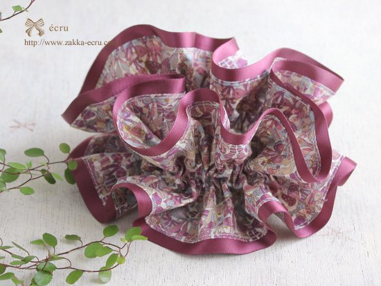 シュシュ [ ダブル ] : リバティ ジェニーズリボンズJenny's Ribbons ラメ入り ピンク系