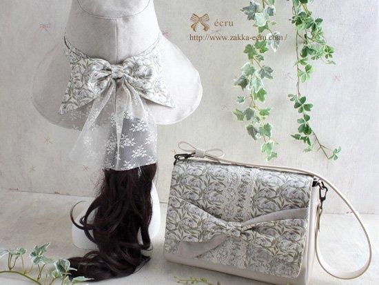 リボンショルダーバッグ:リバティプリント コットンテイル Cotton Tail ベージュ系