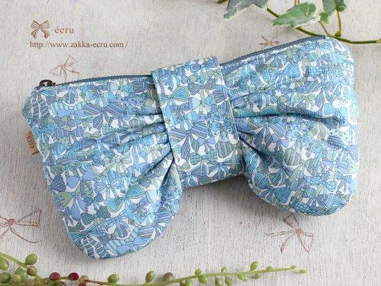リボンポーチ【Mサイズ】:リバティプリント ジェニーズリボンズJenny's Ribbons   ラムネ色