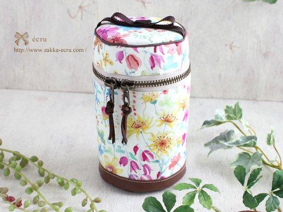 円筒ポーチ:リバティプリント アンバーズ・ポジー Amber's Posy ピンク カラフル系