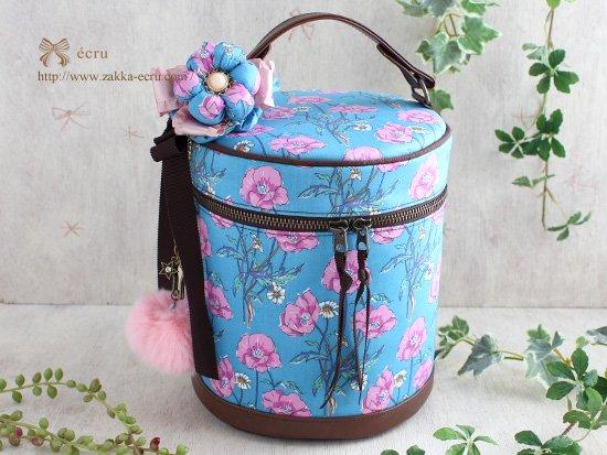 お花飾り付き★バニティバッグ リバティ ポワレ Poiret  水色×ピンク