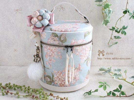 お花飾り付き★バニティバッグ リバティ アーカイブ・ライラック Archive Lilac 水色×ピンク