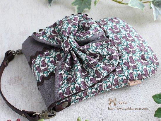 【斜めがけ可能】2way スマホ 携帯用  リボンポシェット ポーチ リバティ コットンテイル  Cottontail 紫