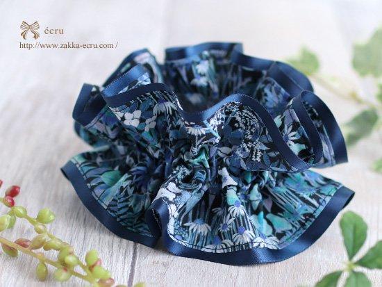 シュシュ [ ダブル ] :ファリア・フラワーズ・スモール Faria Flowers Small ブルー