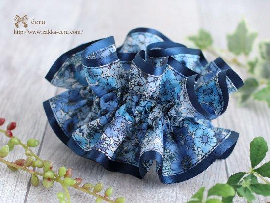 シュシュ [ ダブル ] :リバティ(ワントーングラデーション)グロリアフラワーズ Gloria Flowers ブルー