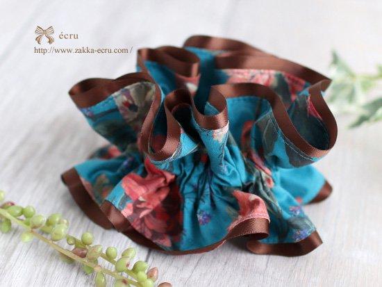 シュシュ [ ダブル ] :リバティ デカダント・ブルームス Decadent Blooms ブルーグリーン