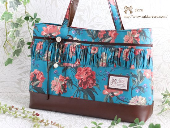 シャーリング★トートバッグ リバティ デカダント・ブルームス Decadent Blooms ブルーグリーン