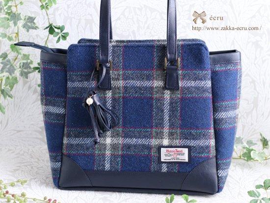 タッセルチャーム付★【A4】スクエアトートバッグ:ハリスツイード・神戸タータン