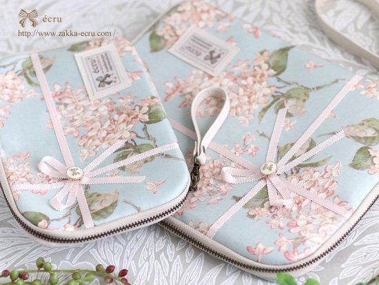 ラッピングリボン★クラッチバッグ リバティプリント リバティプリント アーカイブ・ライラック Archive Lilac 水色×ピンク