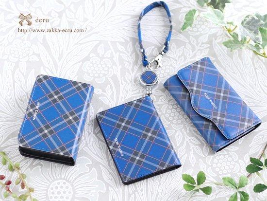 リール付き二つ折りパスケース 名刺ケース、キーケース 神戸タータン