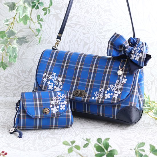 神戸のお花アジサイを刺繍★神戸タータン アジサイショルダーバッグ、マスク、マスクケースセットとポーチ、シュシュ