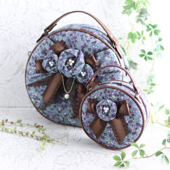 お花付きまん丸バッグ+ポーチ、マスクセット、フリルコンパクト財布、シュシュ リバティプリント