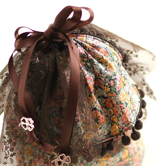 ふんわりチュール巾着、かわいいマスク リボンマスク:リバティ 神戸タータン