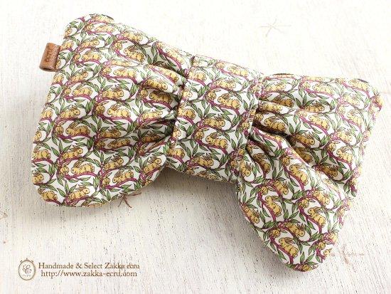 リボン ペンケース ポーチ: リバティプリント コットンテイル Cottontail イエロー黄×赤