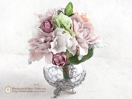 ベル・ビーズベース :ガラス製花器 フラワーベース:アートフラワーブーケ付 アンティークピンク・白