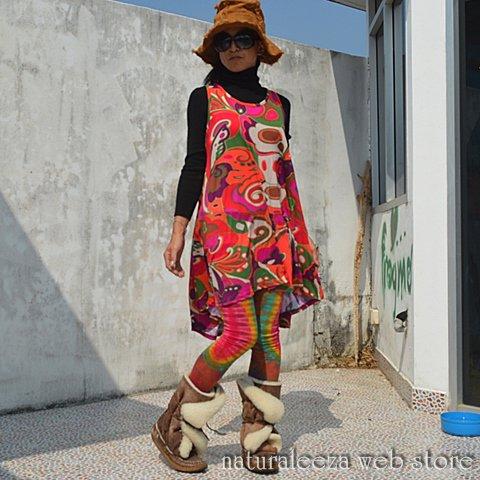 スパンデックス(Spandex)☆ビビっとサイケAラインワンピース , ☆naturaleeza☆,遊び着いっぱい◎ヒッピー・エスニック・レイブ ファッション,