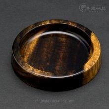 【遊峰】黒柿うどん皿(丸型No.2)