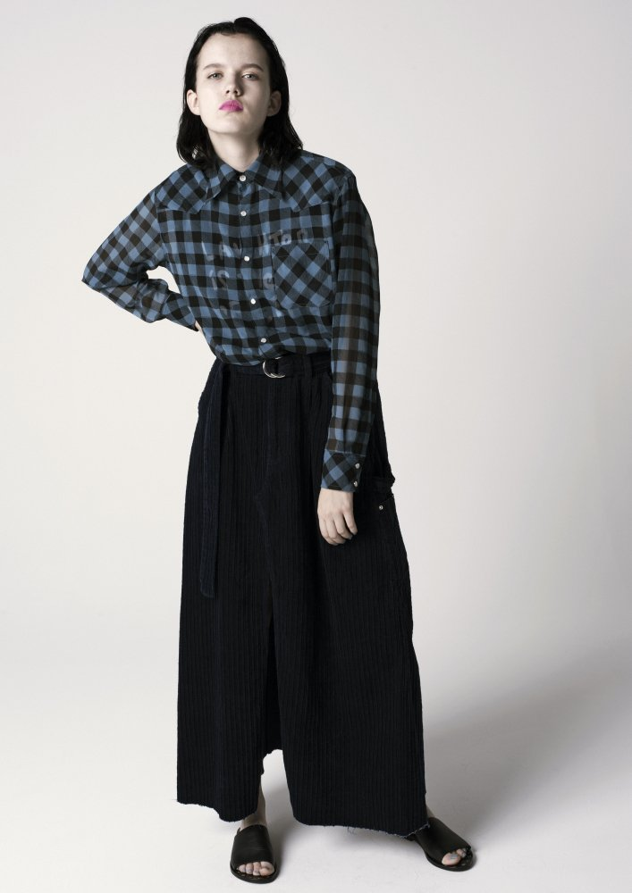 ACASAM  CORDUROY WORK WRAP UP SKIRT