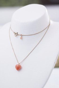 pink coral heart necklace