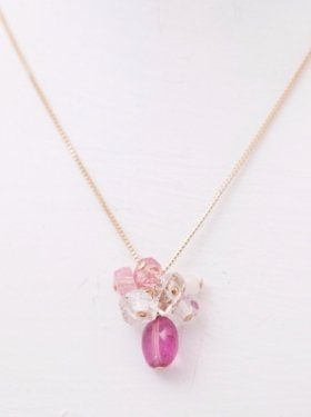 white coral &pink torumarine &harikimer quartz necklace