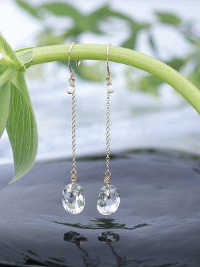 white coral & oval quartz long pierce(イヤリング取替可能)