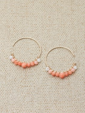 pink &white coral  gradation hoop pierce (2cm)