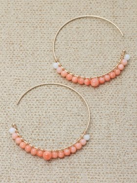 pink &white coral  gradation hoop pierce (3cm)