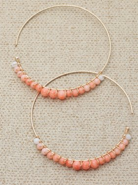 pink &white coral  gradation hoop pierce (4cm)