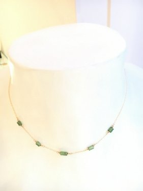 K18 green tourmaline necklace(40cm)
